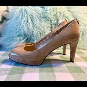 STUART WEITZMAN nude open toe patent heels